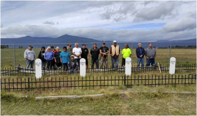 Photo: Tribal Members gather to witness the installment of the new head markers in late Sept. 2015.