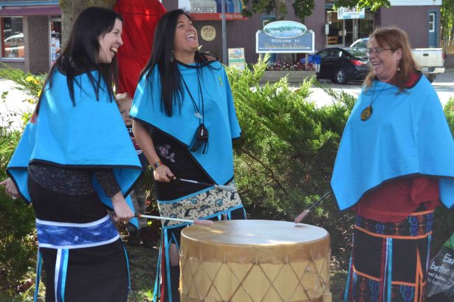 Drummers took part in the ceremony in Shelburne on Friday, Oct. 9