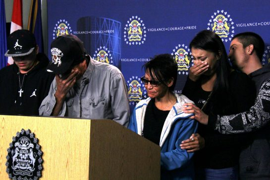 Christa's family made an emotional statement and pleaded with those who attended her party Saturday to come forward and help with the investigation. (Left) Aj Cachene (brother), Leslie Whitehead (father), Nancy Cachene (mother), Jaci Cachene (sister), Julian Redwood (bother-in-law).
