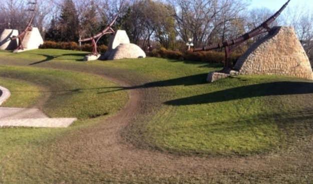 The track from last weekend's cyclocross races ran through Oodena Circle, considered by those in the indigenous community to be a sacred site. (Courtesy Jennifer Spence)