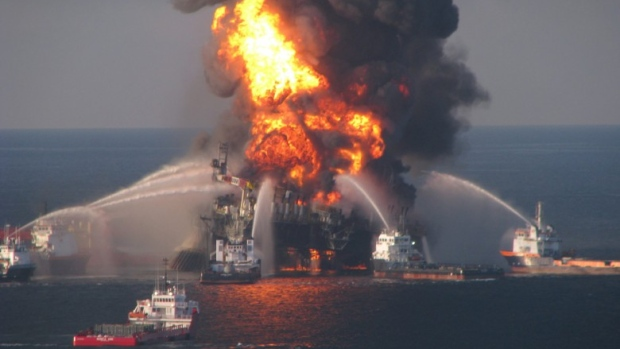 The April 2010 explosion at British Petroleum's Deepwater Horizon offshore rig killed 11 workers. (U.S. Coast Guard/Associated Press)