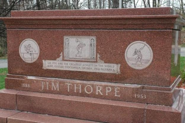 The Jim Thorpe Memorial in Jim Thorpe, Pennsylvania on April 24, 2013. REUTERS/Joe McDonald