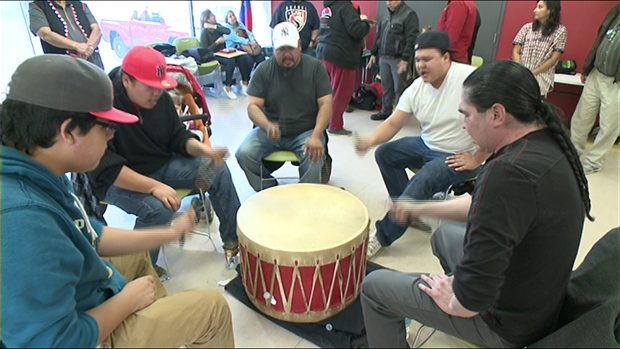 """Drummers perform at the first """"Indigenous Resistance Day"""" at the Odawa Native Friendship Centre in Ottawa on Oct. 10, 2015. (CBC Ottawa)"""