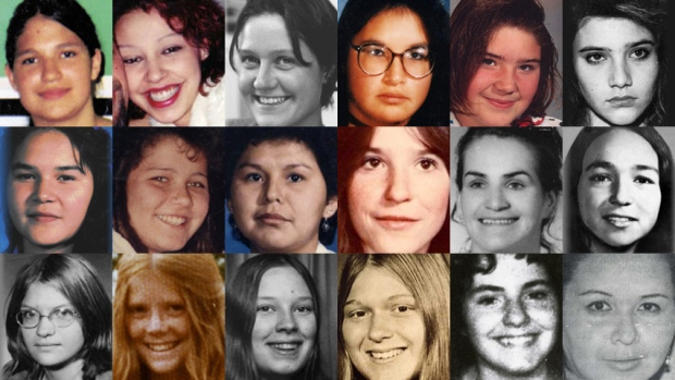 These images are of 18 women and girls whose deaths and disappearances are part of the RCMP's investigation of the Highway of Tears in British Columbia. The women were either found or last seen near Highway 16 or near Highways 97 and 5. (Individual photos from Highwayoftears.ca)