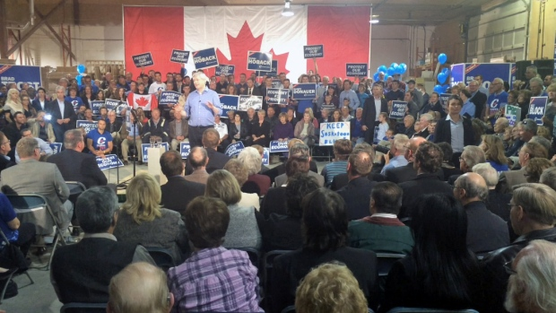 More than 1,000 Conservative supporters showed up in Saskatoon Tuesday evening to hear Stephen Harper speak.