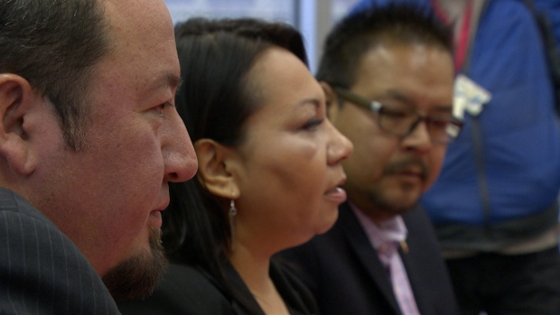 AMC Grand Chief Derek Nepinak (left), AFN Grand Chief Sheila North-Wilson (centre) and AFN Manitoba regional Chief Kevin Hart (right) meet Tuesday morning following the Liberal's majority federal election win. (CBC)