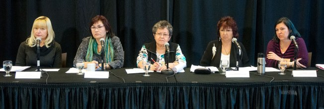WORKING TOGETHER – Elaine Taylor, Doris Bill, Adeline Webber, Doris Anderson and Krista Reid are seen left to right at this morning's news conference. Photo by Vince Fedoroff