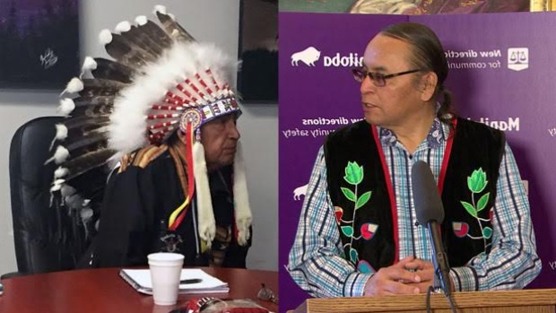 Dakota Tipi First Nation Chief David Pashe and Grand Chief of Southern Chief's Organization Terry Nelson