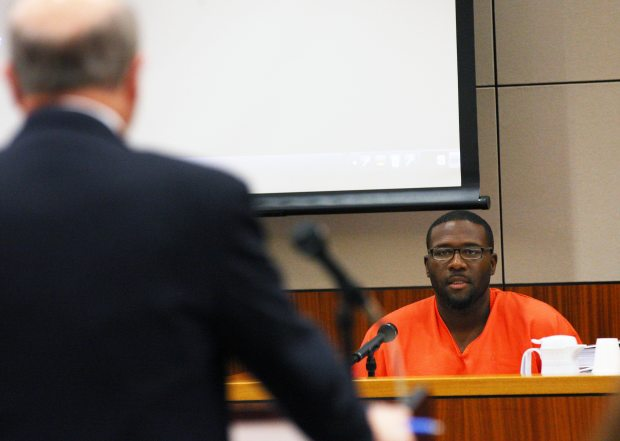 William Holmes testifies during an evidentiary hearing for the Fairbanks Four to try to prove their innocence, Monday, Oct. 5, 2015 at the Rabinowitz Courthouse in Fairbanks, Alaska. The Four, George Frese, Kevin Pease, Eugene Vent and Marvin Roberts were convicted in the killing of 15-year old John Hartman 18 years ago. Roberts was released on parole this summer, the other three men remain in jail. Eric Engman / Fairbanks Daily News-Miner via AP