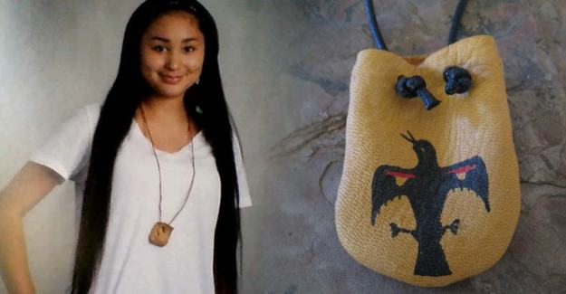 "Rosella ""Rose"" Kaquatosh wears her sacred Menominee medicine pouch. Photo courtesy Karen Gardner. Via Indian Country Today"