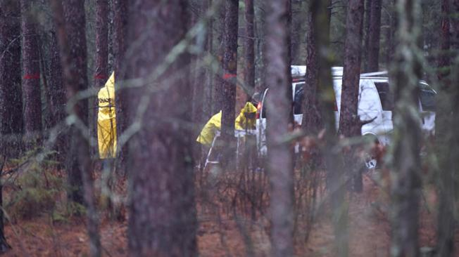 Officials from the Minnesota Bureau of Criminal Apprehension work Thursday in a wooded area at a location northwest of Bemidji where the body believed to be that of Rose Downwind was found Wednesday. (Jillian Gandsey | Bemidji Pioneer)