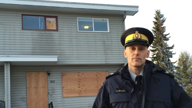 "RCMP Corp. Craig Douglass said the house connected to nearly a dozen youth in Prince George was a ""crack house"" and ""flophouse."" (Betsy Trumpener/CBC)"