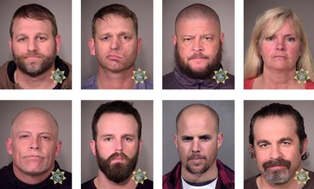 From top left, booking photographs of Ammon Bundy, Ryan Bundy, Brian Cavalier, Shawna Cox, From bottom left, Joseph Donald O'Shaughnessy, Ryan Payne, Jon Eric Ritzheimer and Peter Santilli. Credit Multnomah County Sheriff