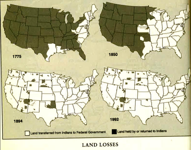 the above map shows the progression of how much land native americans had taken from them by armed white men from the beginning of colonization to the