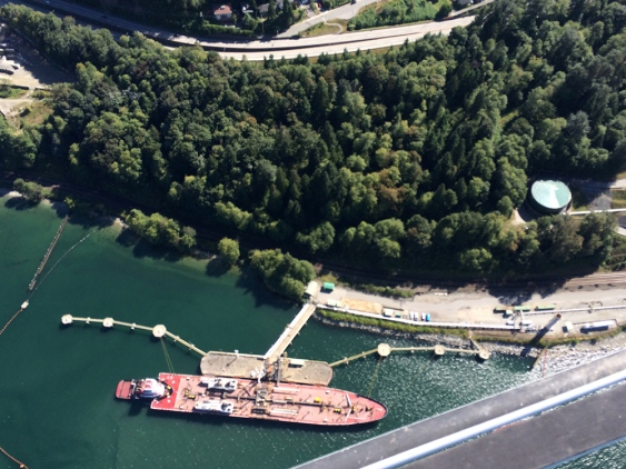 The Westridge dock is slated for expansion if Kinder Morgan gets approval to twin the Trans Mountain pipeline. The company is drilling around the dock to collect soil samples, which is upsetting some pipeline opponents. Photograph By Jennifer Moreau