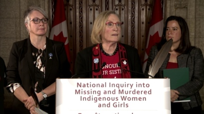 Indigenous Affairs Minister Carolyn Bennett announced the first steps for her government's promised inquiry into missing and murdered indigenous women in Ottawa on Dec. 8. Bennett will visit Yellowknife on Friday and Whitehorse on Jan. 11 to speak to families affected. (CBC News)
