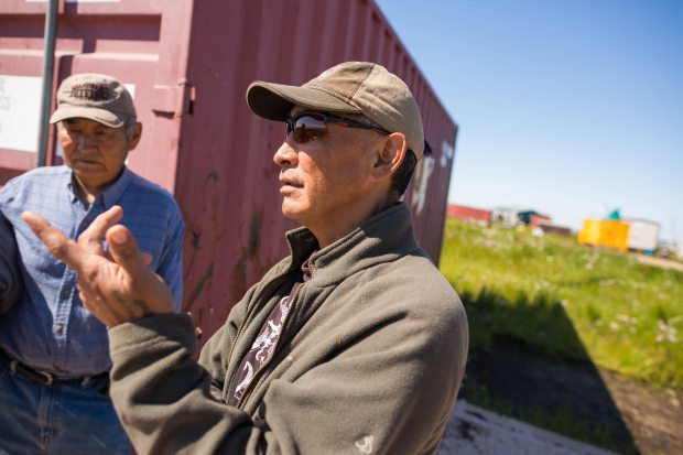 Tom John, right, is tribal administrator for the new Newtok council. Loren Holmes / ADN