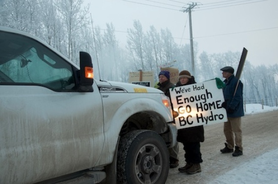 Protesters on the 269 Road blocked traffic from entering the Site C dam work site for about an hour before police arrived Wednesday.