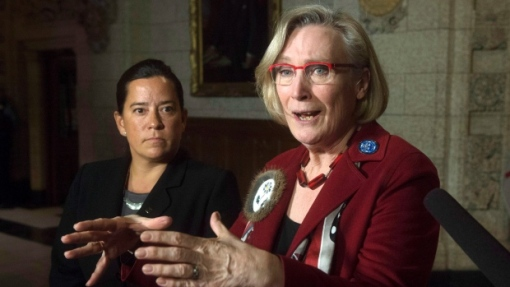 "In a letter to Justice Minister Jody Wilson-Raybould, left, Indigenous and Northern Affairs Minister Carolyn Bennett, right, and Status of Women Minister Patty Hajdu, Human Rights Watch says a national inquiry into missing and murdered indigenous women ""should include police misconduct"" in its scope. (Adrian Wyld/Canadian Press)"