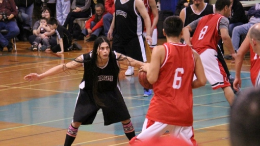 Skidegate Saints' point guard Desi Collinson plans to press his anti-LNG message off the court at the All Native Basketball Tournament. (Facebook)