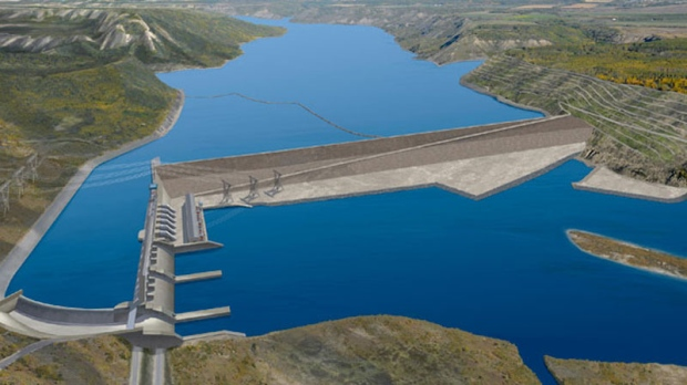 This rendering shows the planned Site C Dam in the Peace River valley in Northeast British Columbia.
