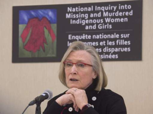 Minister of Indigenous and Northern Affairs Carolyn Bennett speaks during a news conference on the Missing and Murdered Indigenous Women and Girls inquiry in Ottawa, Monday, February 15, 2016.