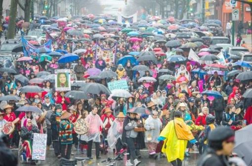 The 26th Annual Women's Memorial March makes it way down Main Street in Vancouver, B.C. Sunday February 14, 2016. Photograph by: Ric Ernst, VANCOUVER SUN