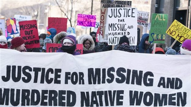 Murdered and missing native women were remembered in the 7th annual memorial march to raise awareness of the hundreds, possibly thousands, of women and girls. This even in Montreal, Sunday, February 14, 2016, was one of several similar demonstrations across Canada. Photo Credit: CP / Graham Hughes