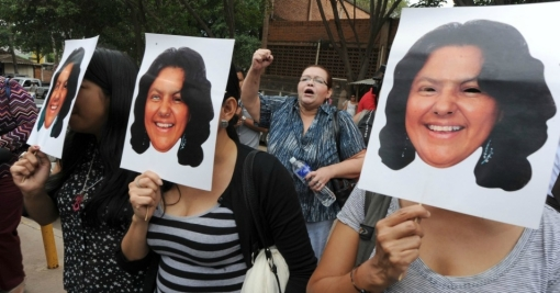 Women protest against the murder of Indigenous leader and activist Berta Cáceres in La Esperanza, Honduras. (Photograph: Orlando Sierra/AFP/Getty Images)