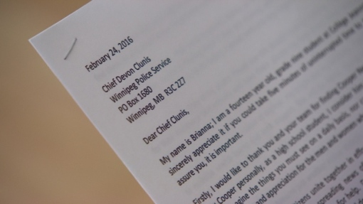 Jonnie's letter outlines specific instructions for Clunis to follow should she disappear from Winnipeg's streets. (CBC)
