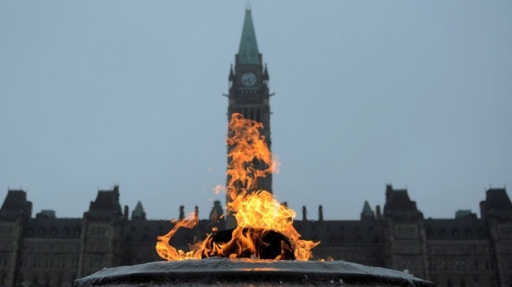 The Centennial Flame burns on Parliament Hill in Ottawa on Thursday, May 3, 2012. (The Canadian Press/Sean Kilpatrick)