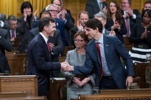Finance Minister Bill Morneau and Justin Trudeau in the House of Commons. Photo from PMO