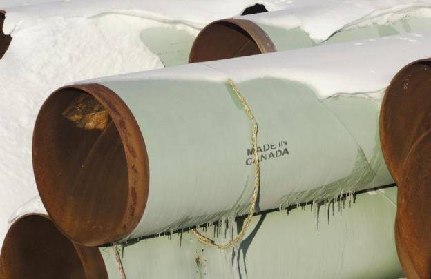 A depot used to store pipes for Transcanada Corp's planned Keystone XL oil pipeline. November 14, 2014.  REUTERS/Andrew Cullen