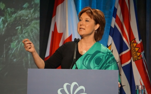 B.C. Premier Christy Clark addresses clean energy in the province at the 2016 Globe Series in Vancouver on March 2. Photo by Elizabeth McSheffrey.