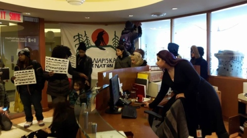 As many as 20 protesters entered the office about 10:45 a.m. ET. (Facebook / Idle No More Toronto)