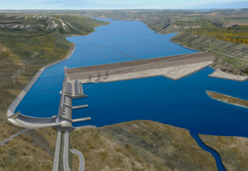 An artist rendering of the Site C Dam near Fort St. John, B.C. Graphic courtesy of B.C. Hydro.