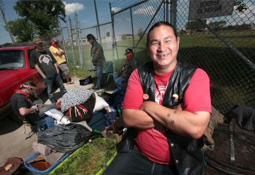 Kylo Prince, a Long Plain FN member who lives in Wpg and is one of 4 peaceful protestors planning to hold sweats and sacred ceremonies at Kapyong. They've been there since Sunday night.See Carol Sanders story. May 30, 2016.PHIL HOSSACK / WINNIPEG FREE PRESS