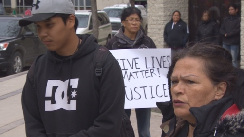 Brandon Wyatt Green outside the Winnipeg Remand Centre, where he protested his brother's recent death on Friday.