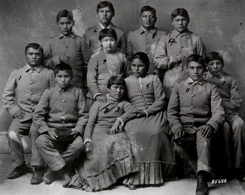 American Indian children four months after their arrival at Carlisle Indian Industrial School.