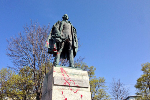 Red paint defaces the statue of Halifax city founder Edward Cornwallis in Halifax on Friday, May 13, 2016.