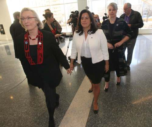 JOE BRYKSA / WINNIPEG FREE PRESS From left: Federal Indigenous and Northern Affairs Minister Carolyn Bennett, Justice Minister and Attorney General Jody Wilson-Raybould, and Minister for the Status of Women Patty Hajdu leave after speaking with media at the Second National Roundtable on Missing and Murdered Indigenous Women and Girls in Winnipeg at the RBC Convention Centre.