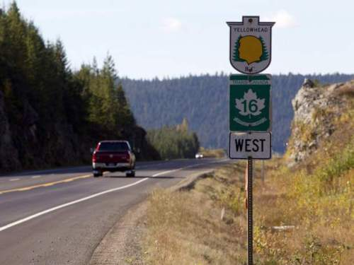 Highway 16 near Prince George, B.C., is shown on Monday, Oct. 8, 2012. A bus service that links communities along a notorious stretch of highway in northern British Columbia will carry passengers by the end of the year, the province's transportation minister said Wednesday