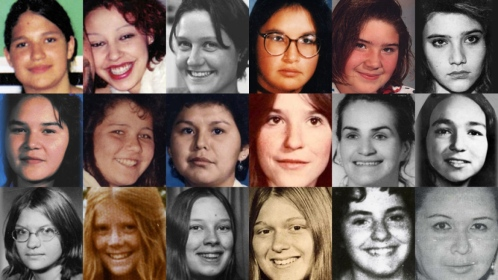 These images are of 18 women and girls whose deaths and disappearances are part of the RCMP's investigation of the Highway of Tears in British Columbia. The women were either found or last seen near Highway 16 or near Highways 97 and 5. From left to right: (Top row) Aielah Saric Auger, Tamara Chipman, Nicole Hoar, Lana Derrick, Alishia Germaine, Roxanne Thiara; (Middle) Ramona Wilson, Delphine Nikal, Alberta Williams, Shelley-Anne Bascu, Maureen Mosie, Monica Jack; (Bottom row) Monica Ignas, Colleen MacMillen, Pamela Darlington, Gale Weys, Micheline Pare, Gloria Moody. (Individual photos from Highwayoftears.ca)