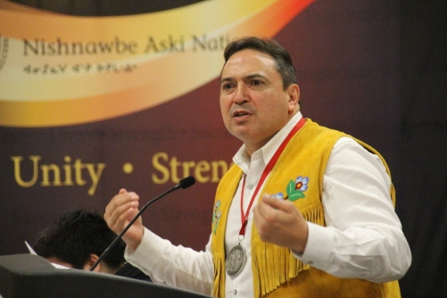 Assembly of First Nations National Chief Perry Bellegarde spoke of the difference in quality of living between Indigenous people and the rest of Canada during a speech at the Nishnawbe Aski Nation's Spring Chiefs Assembly in Timmins this week. Monday May 16, 2016. Alan S. Hale/Timmins Daily Press/Postmedia Network