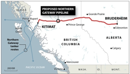 The project would see the Northern Gateway Pipeline travel 1,177 kilometres and deliver bitumen from Alberta to B.C.'s coastline. (Enbridge/The Canadian Press)