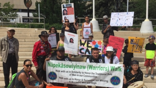A group of 20 people marched from Edmonton's Churchill Square to Borden Park for the third annual Warriors Walk. (Supplied)
