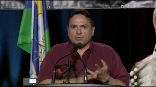 """Assembly of First Nations national chief Perry Bellegarde says """"all options"""" are on the table as Indigenous peoples push the Canadian government to adopt the UN declaration on the rights of Indigenous peoples during closing remarks to First Nations chiefs in Niagara Falls, Ont., on Thursday. (CBC)"""