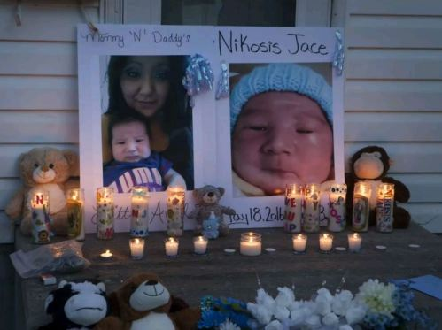 A memorial on Waterloo Crescent in Saskatoon for six-week-old Nikosis Jace Cantre, victim of a murder last week. A 16-year-old young offender has been charged with second-degree murder in the death, Tuesday, July 05, 2016.