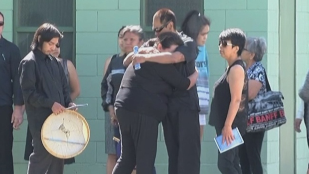 The family of Jocelyn George, who died in police custody, gathered in Port Alberni for her funeral Wednesday. (CHEK)