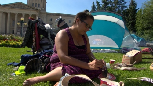 The group is staying on the Legislative Building grounds for four days and four nights and may stay longer.